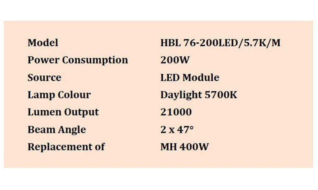 โคมไฮเบย์ LED 200W (เดย์ไลท์) L&E