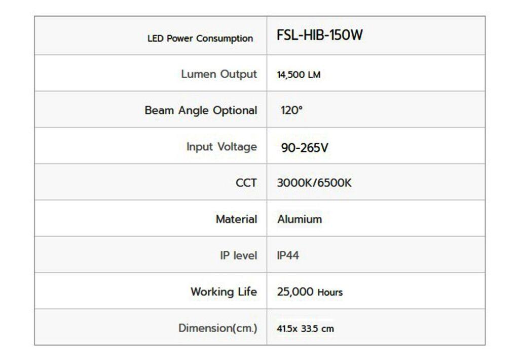 โคมไฮเบย์ LED 150W (วอร์มไวท์) FSL